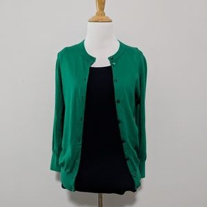 J Crew Clare cotton cardigan green (M)